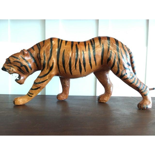 Vintage Leather Tiger For Sale - Image 4 of 8