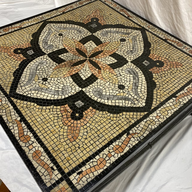 Boho Faux Mosaic Painted Tile Coffee Table For Sale - Image 4 of 11
