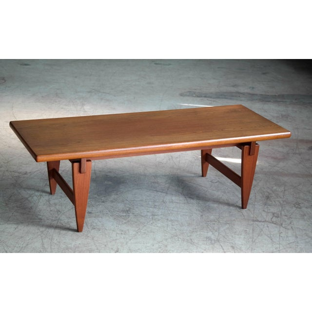 Danish Midcentury Coffee Table in Solid Teak by Illum Wikkelsø For Sale In New York - Image 6 of 6
