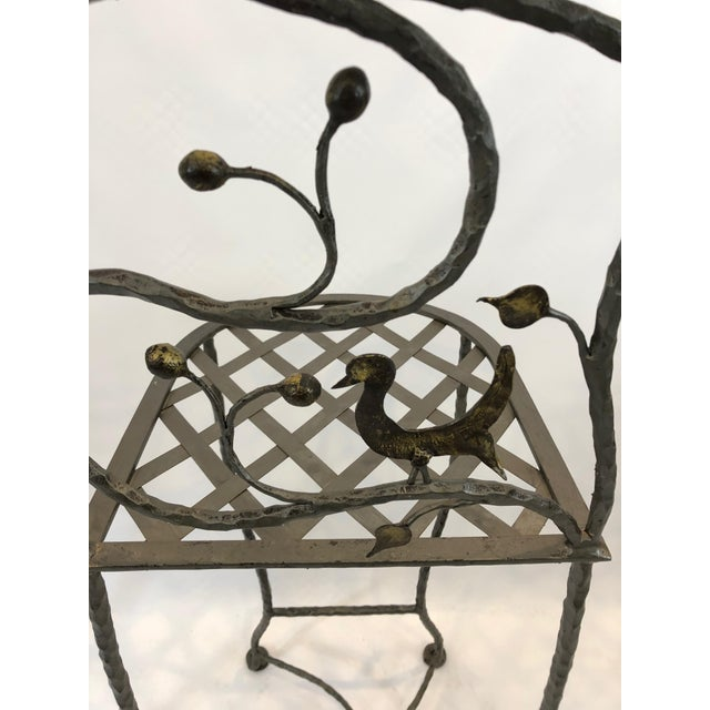 1980s Vintage Giacometti Style Whimsical Hand Forged Iron Counter Stools - Set of 5 For Sale - Image 9 of 11