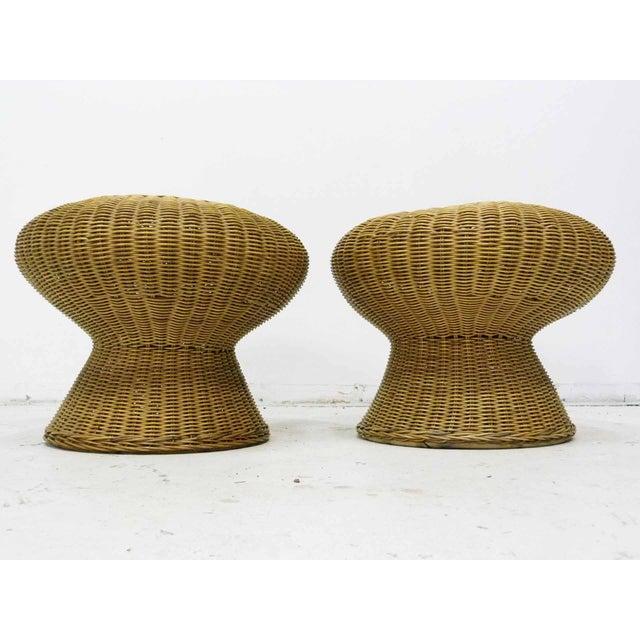 Mid Century Wicker Pedestal Pouf Stools - Pair - Image 4 of 5