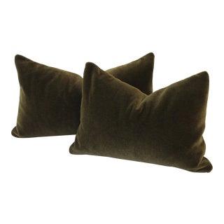 Deep Moss Green Mohair Accent Pillow For Sale