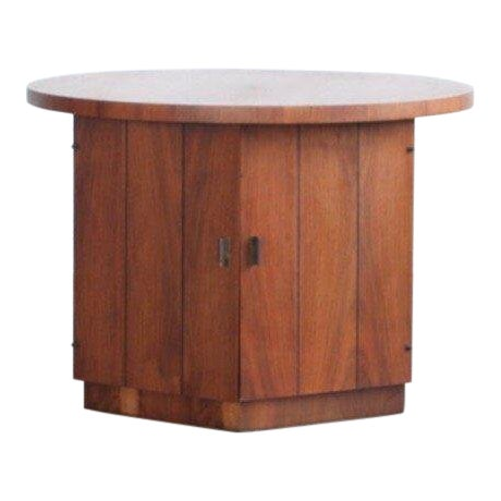1960s Modern Teak Hexagon Side Table/Cabinet For Sale