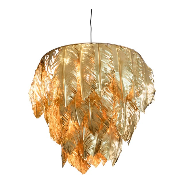 Hand Cut Brass Leaf Small Chandelier For Sale
