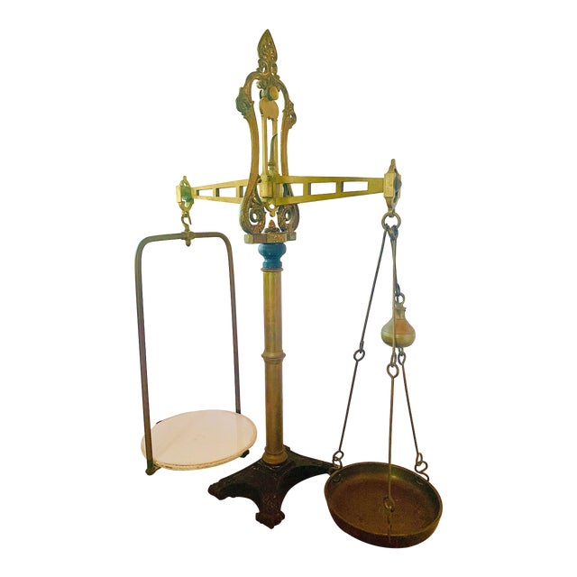 Antique 1800s English Brass Beam Shop Scale For Sale