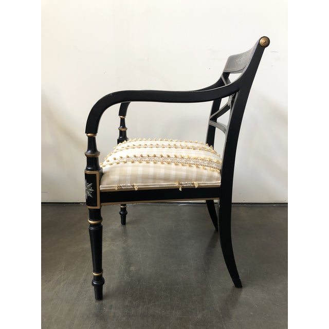 1990s Regency Style Black and Gold Painted Arm Chairs - a Pair For Sale - Image 5 of 13