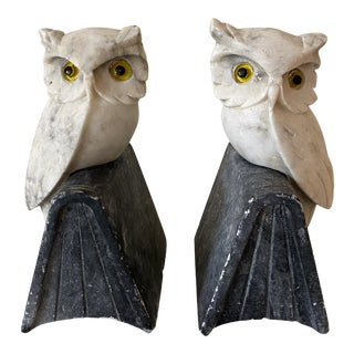 1940s Hand Carved Italian Marble Owl Bookend Statues - a Pair For Sale