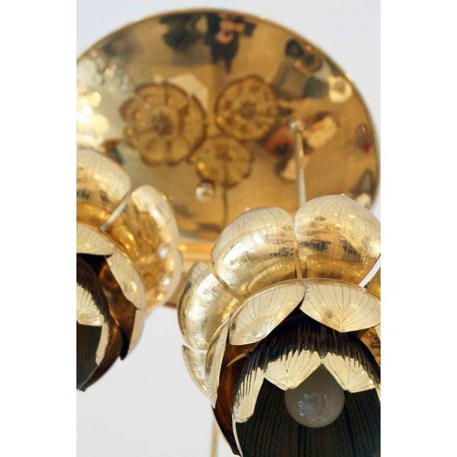 Triple Light Brass Lotus Pendant - Image 5 of 8