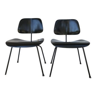 1950s Eames Ebony Plywood Dcm Side Chair - a Pair For Sale