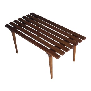 1960s Mid-Century Modern Slat Wood Bench For Sale