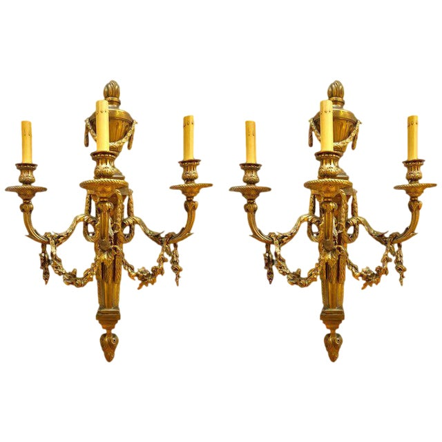 Pair of French Louis XVI Style Dore Bronze Sconces With Foundry Name For Sale