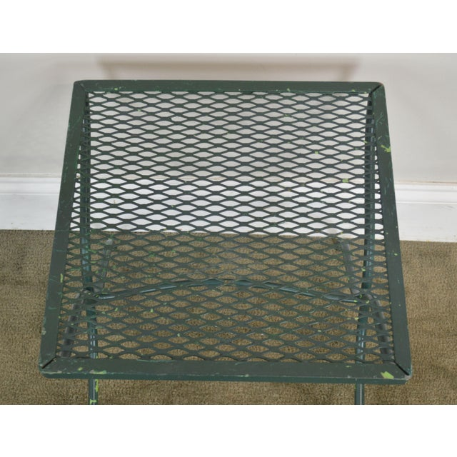 Salterini Vintage Expanded Metal Wrought Iron Pair X-Base Patio Side Tables For Sale - Image 9 of 13
