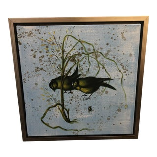 Chinoiserie Songbird II Oil Canvas Painting by Wildwood Chelsea House For Sale