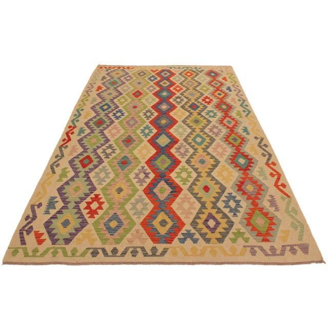 Contemporary Shabby Chic Sylvie Ivory/Rust Hand-Woven Kilim Wool Rug -6'7 X 9'8 For Sale - Image 3 of 8