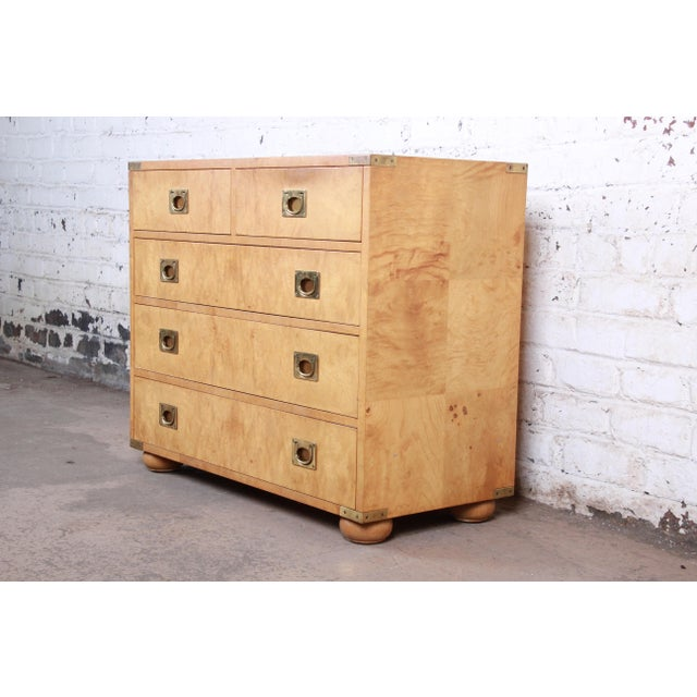 Campaign Henredon Burl Wood Campaign Style Five-Drawer Dresser Chest For Sale - Image 3 of 12