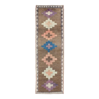 Vintage Turkish Tulu Runner With Tribal Design in Light Pink, Blue and Lavender For Sale