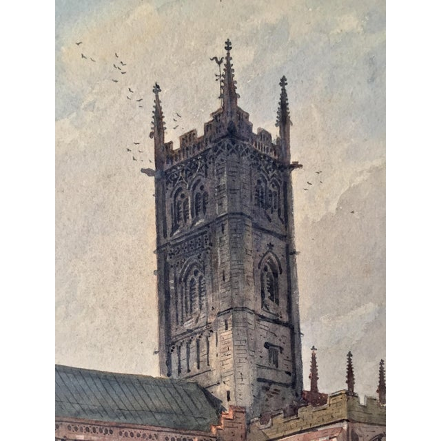 Mid 19th Century English Church Watercolor Painting by Axel Haig For Sale - Image 5 of 8