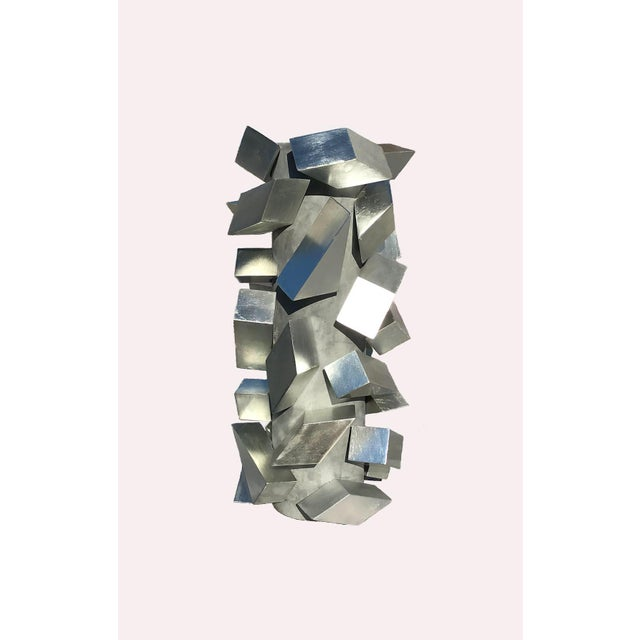Abstract Cubist Silver Leaf Sculpture For Sale - Image 3 of 6