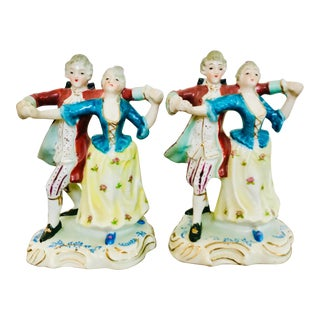 Japanese Porcelain Dancing Baroque Couple Figurine Bookends - a Pair For Sale