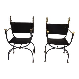 Campaign Chairs, W/Leather & Brass For Sale