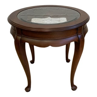 Queen Anne Style Round Wood + Glass Top Insert Side Table For Sale