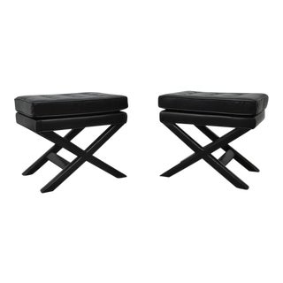 Black Leather X-Base Stools For Sale