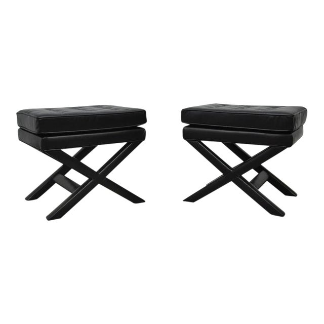 Awe Inspiring Black Leather X Base Stools Beatyapartments Chair Design Images Beatyapartmentscom