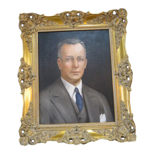 Vintage Traditional Portrait of a Gentleman Oil on Canvas For Sale