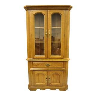 Vintage Oskar Huber Oak Wood Corner China Cabinet For Sale