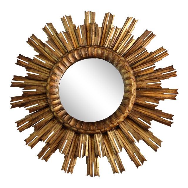 French Antique Sunburst Mirror For Sale