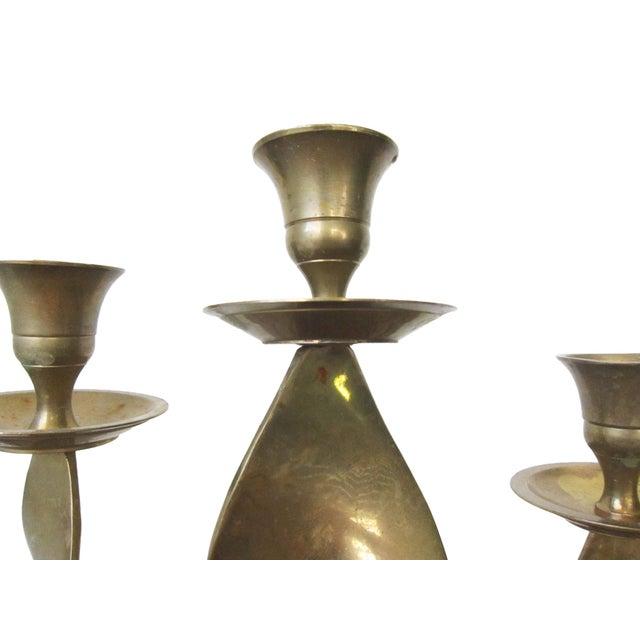 Vintage Brass Candlesticks -Set of 3 For Sale - Image 4 of 10