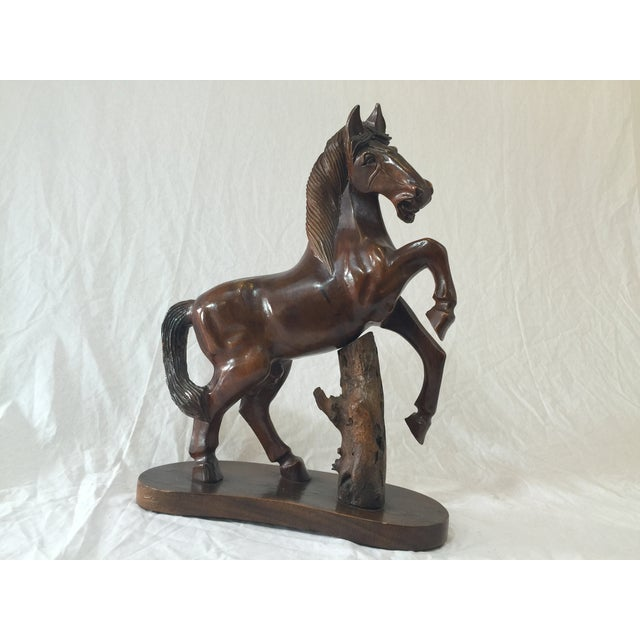 Carved Wooden Horse on Wood Stand - Image 3 of 10