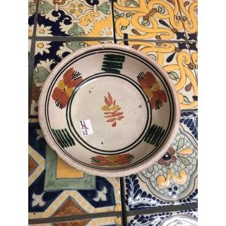 Vintage Mexican Ceramic Pozole Bowl Hand Painted Orange Leaf Flower Design Preview