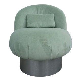 1970's Hollywood Regency Green Swivel Vanity Chair