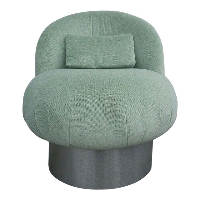 1970's Hollywood Regency Green Swivel Vanity Chair For Sale