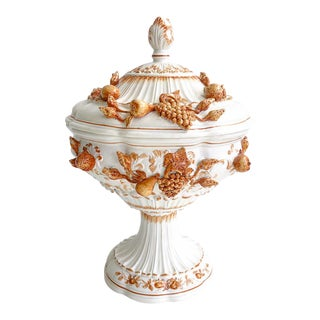 Italian White & Orange Footed Tureen With Lid With Fruit Carved Details