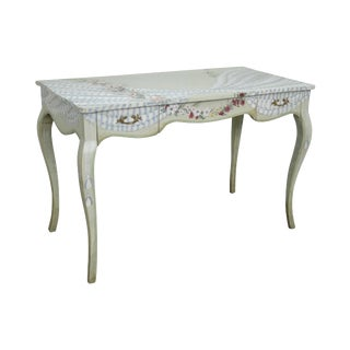 Custom Floral Hand Paint Decorated French Louis XV Style Writing Desk