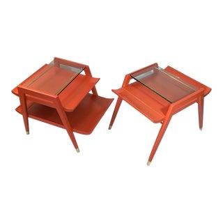 Vintage Asian Modern Gordon's Fine Furniture Wood Glass End Tables - Set of 2 For Sale