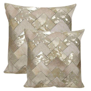 "Premium Leather & Cowhide Pillows With Metallic Silver Accents 20""x20"" For Sale"