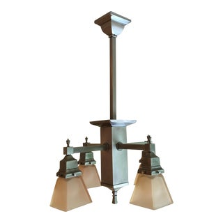 Craftsman Pendant Light Chandelier Plus 4 Single Pendants For Sale