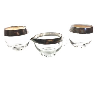 Vintage Mid-Century Dorothy Thorpe Glassware Coffee / Tea Set With Classic Silver Rims - Set of 3 For Sale