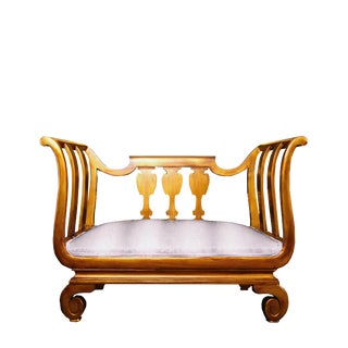 Vintage Settee Gold Frame and Faux Python For Sale