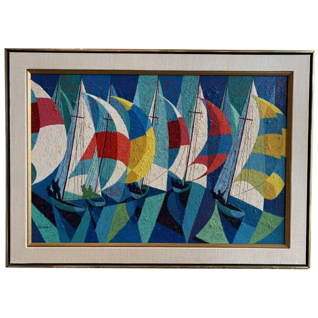 1970s Vintage Camú Spinnakers Original Signed Oil Painting For Sale