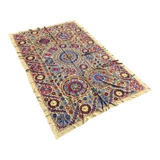 "Handmade Suzani Crochet Yellow Floral Fabric Bedspread - 6'8"" X 4'4"" For Sale"