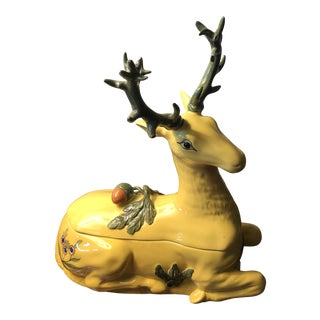 1980s Tiffany Italian Porcelain Vintage Deer Covered Box For Sale