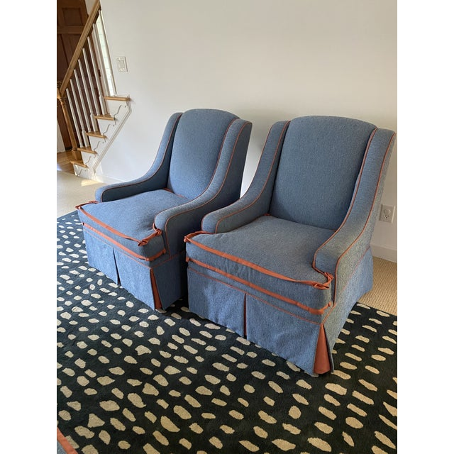 Custom Made Large Swivel Chairs With Ottomans - 4 Pieces For Sale - Image 10 of 13