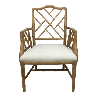 20th Century Boho Chic Faux Bamboo Wooden Arm Chair For Sale
