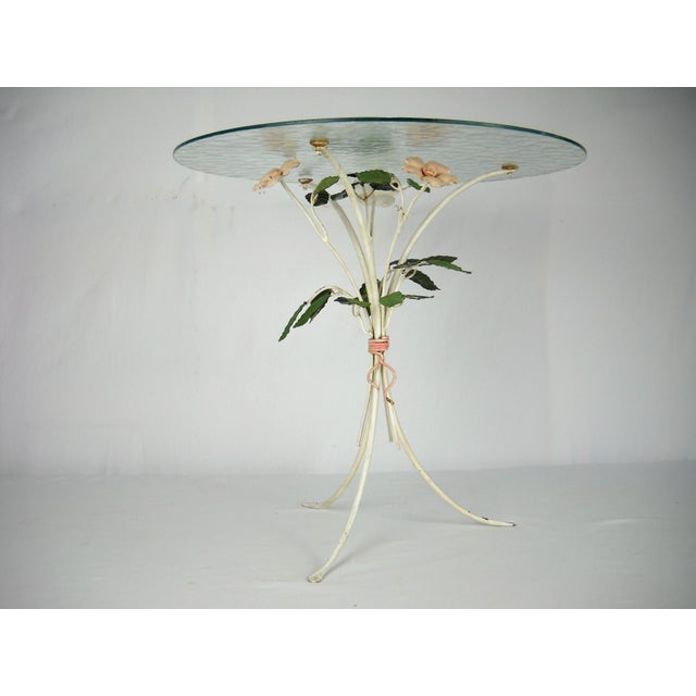 Hollywood Regency Italian Floral Tole Side Table For Sale - Image 3 of 8