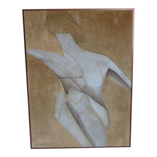 1970s Vintage Cubist Style Nude Suede Wall Panel For Sale