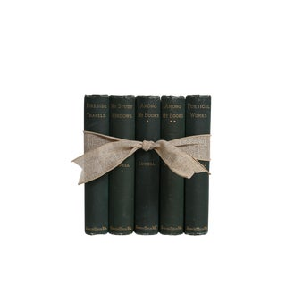 J. R. Lowell in Green : Antique Book Gift Set of Five Decorative Books